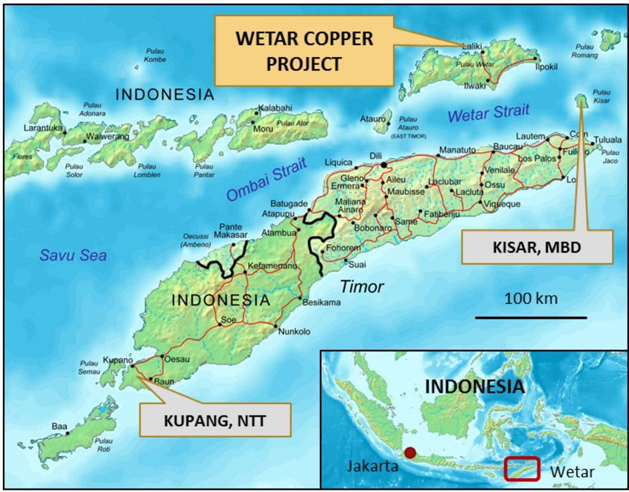 A generalized map of Finders' Wetar copper project in Indonesia. Credit: Finders Resources.