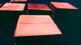 Sheets of copper cathode. Credit: Codelco.