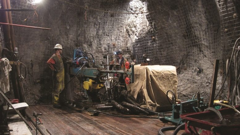 Drillers underground in the Martel zone at Imperial Metals' Mount Polley copper-gold mine in south-central British Columbia. Credit: Imperial Metals.