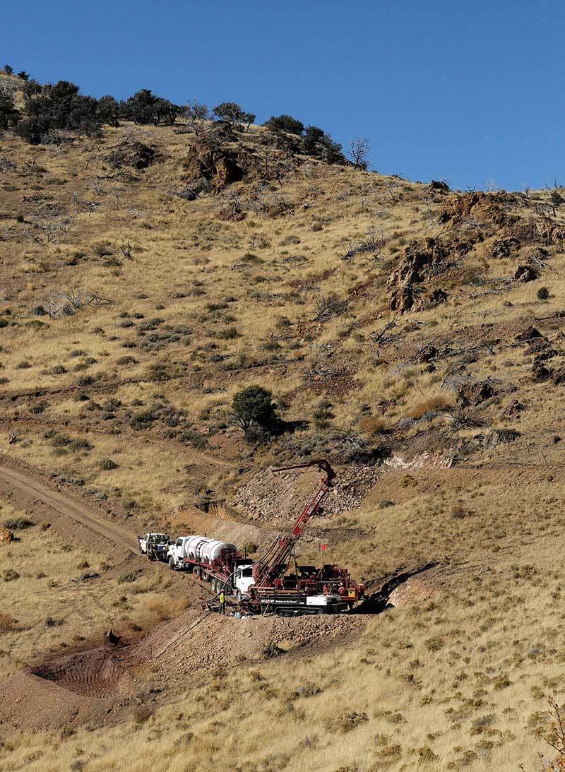 A drill rig on the Pinion deposit at Gold Standard Ventures' gold property in Nevada. Credit: Gold Standard Ventures.