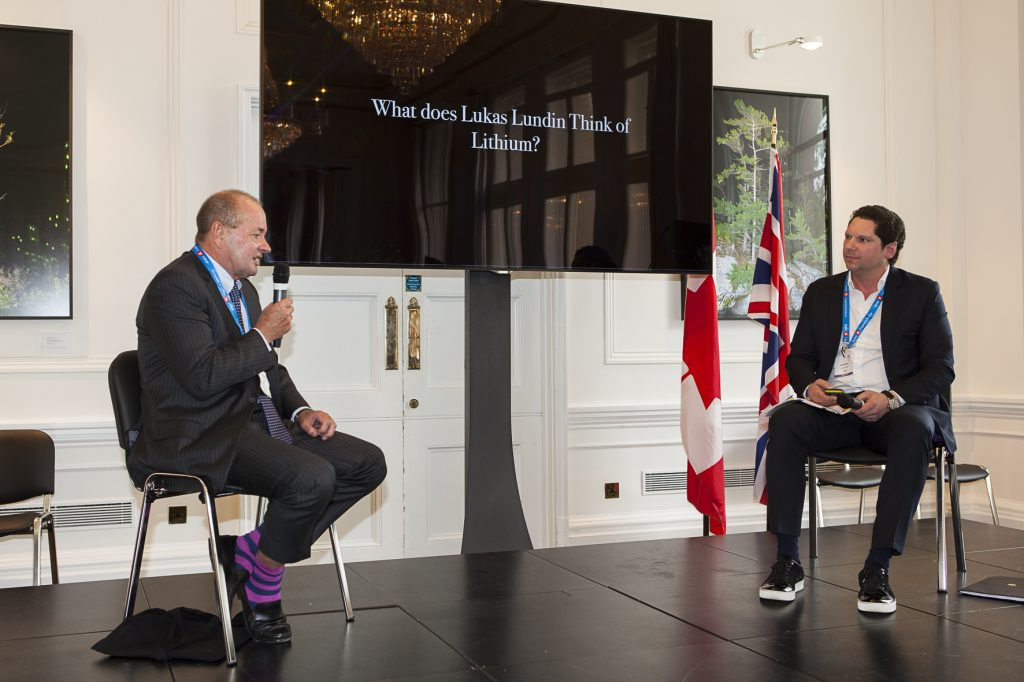 Lukas Lundin (left), chairman of the Lundin Group of Companies, with moderator Gianni Kovacevic, executive chairman of CopperBank at the Canadian Mining Symposium at Canada in London, U.K., in May 2017. Photo by Martina Lang.
