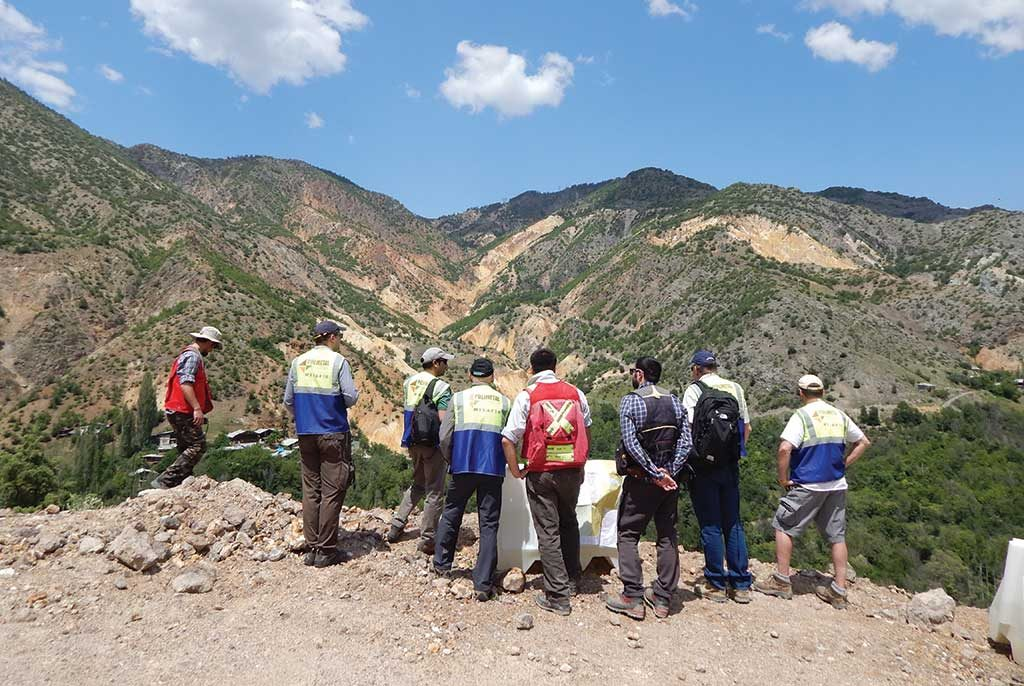 Analysts tour Mariana Resources' Hot Maden gold project in Turkey in June 2016. Credit: Mariana Resources.