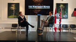 Ivanhoe Mines chairman Robert Friedland (left) and Northern Miner publisher Anthony Vaccaro at the Canadian Mining Symposium in London, U.K., in May 2017. Photo by John Cumming.