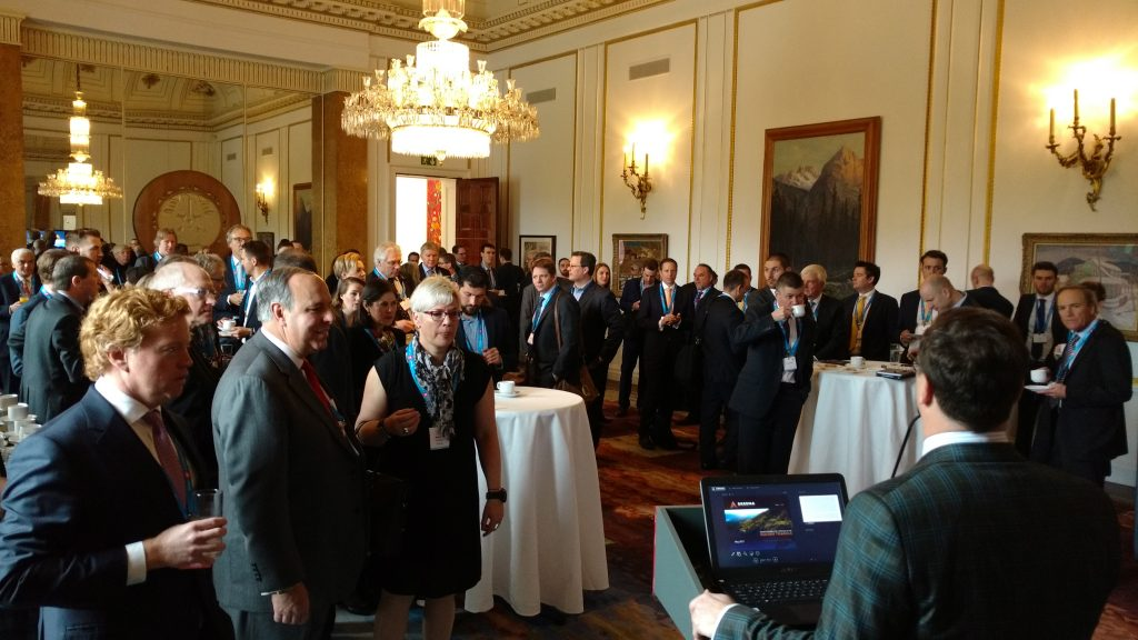 Breakfast welcome for delegates at the Canadian Mining Symposium at Canada House in London, U.K., in May 2017. Photo by John Cumming.