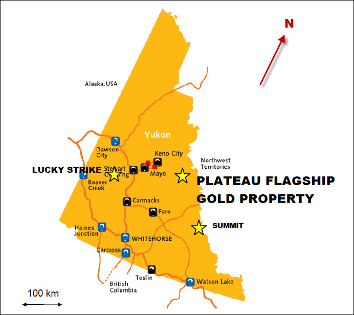 Goldstrike has three gold properties in the Yukon: Plateau, Lucky Strike and Summit. Credit: Goldstrike Resources.