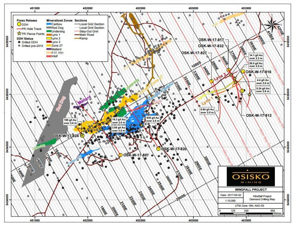 Diamond drilling map on Osisko's Windfall Lake gold project in Quebec. Credit: Osisko Mining