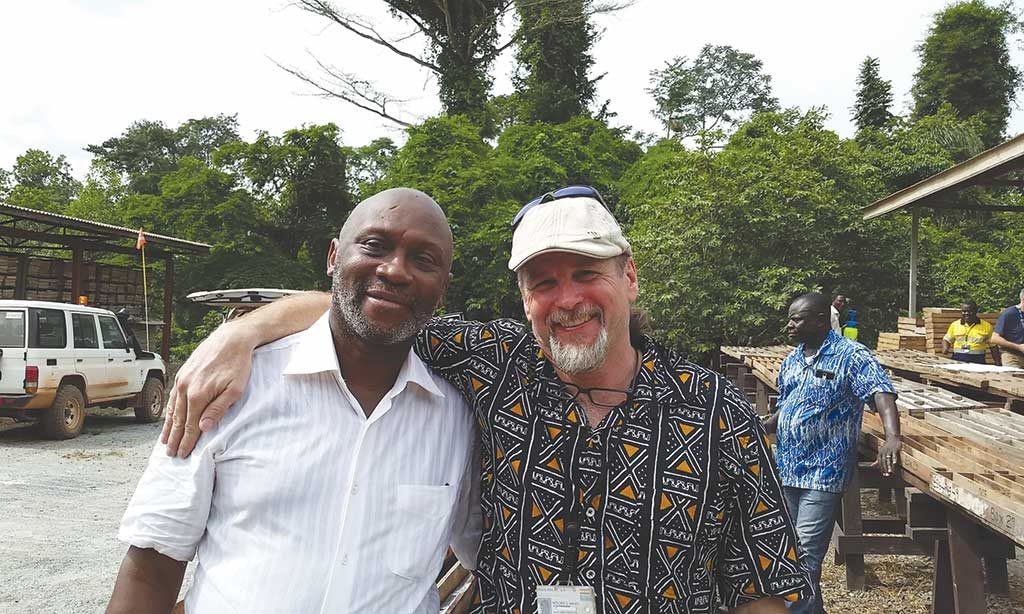 Daniel Owiredu (left), Golden Star Resources' executive vice-president and COO, and Mitch Wasel, vice-president of exploration, in the field in Ghana. Photo by Trish Saywell.