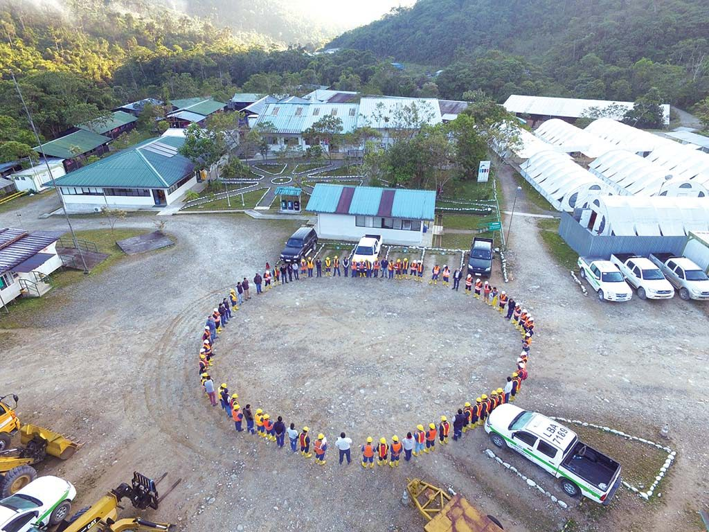 Workers assemble for a daily morning meeting at Lundin Gold's Fruta del Norte gold project in Ecuador. Credit: Lundin Gold.
