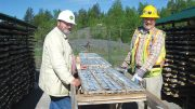 Frank Basa (left), Castle Silver Resources president and CEO, and Douglas Robinson, project geologist, inspect core in the Cobalt-Gowganda area in Ontario. Credit: Castle Silver Resources.