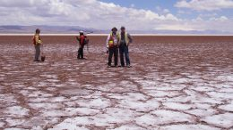 Pausing for a photo at the Cauchari salt lake at Lithium Americas and SQM's Cauchari-Olaroz lithium brine project in northwestern Argentina's Jujuy province. Credit: Lithium Americas.