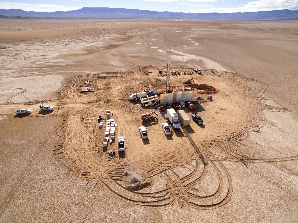 The 105-sq.km project hosts lithium brines within unconsolidated sediments (gravel, sand, etc.) that infill a deep basin beneath the claim area. Credit: Pure Energy Minerals.