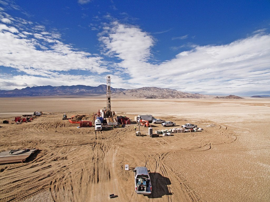 Drill rigs testing for lithium brines at the Clayton Valley project in Nevada. Credit: Pure Energy Minerals.