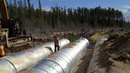 Engineering contractors at the Côté gold property 130 km southwest of Timmins, On. Credit: TULLOCH Engineering.