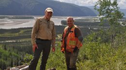 Comstock Metals President and CEO Dr. David Terry (left) and Jodie Gibson, P.Geo. of GroundTruth Exploration Inc., at the QV Gold Project in Yukon's White Gold District. Photo Credit: Comstock Metals