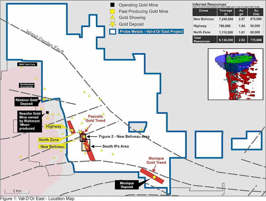 A map showing the New Beliveau deposit at Probe Metals' Val d'Or East project. Credit: Probe Metals.