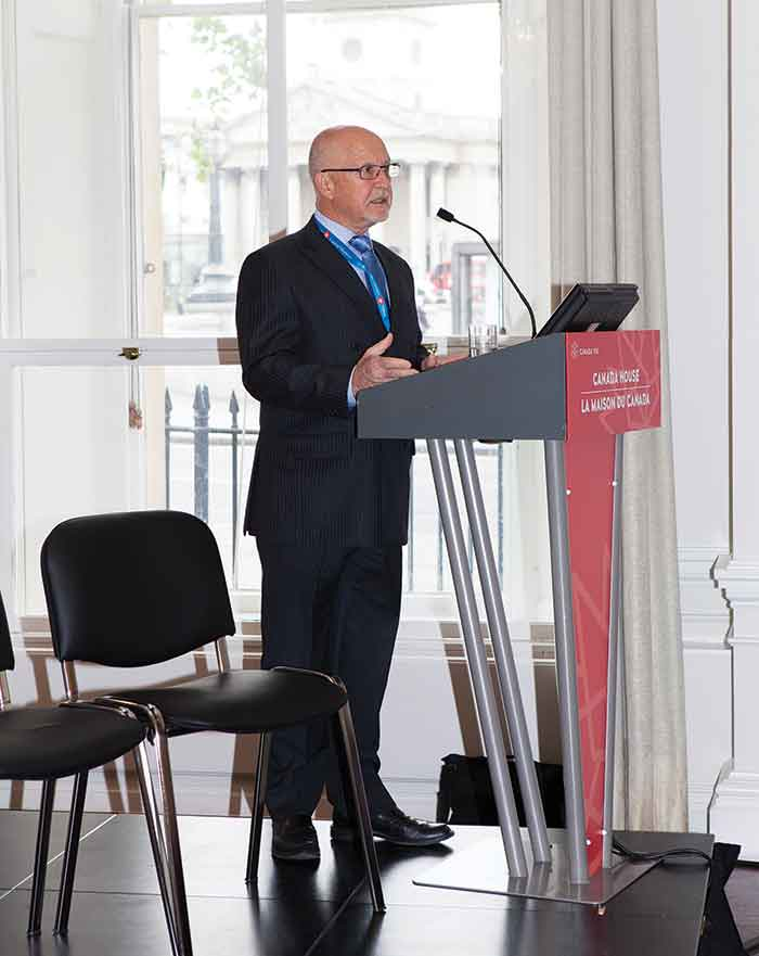 Harte Gold president and CEO Stephen Roman addresses attendees at The Northern Miner's Canadian Mining Symposium in London, UK, in May. Photo by Martina Lang.