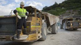 A truck driver outside Tahoe Resources' Escobal silver mine in Guatemala in 2015. Credit: Tahoe Resources.