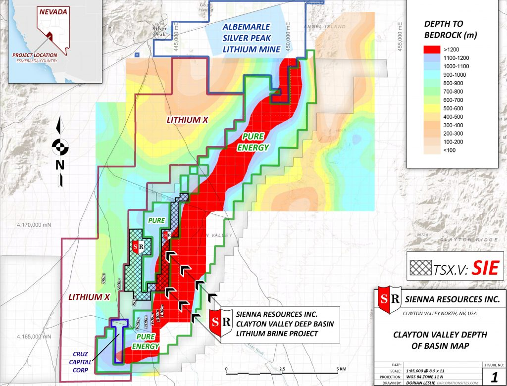 Location map of Sienna Resources' lithium claims in Nevada. Credit: Sienna Resources.