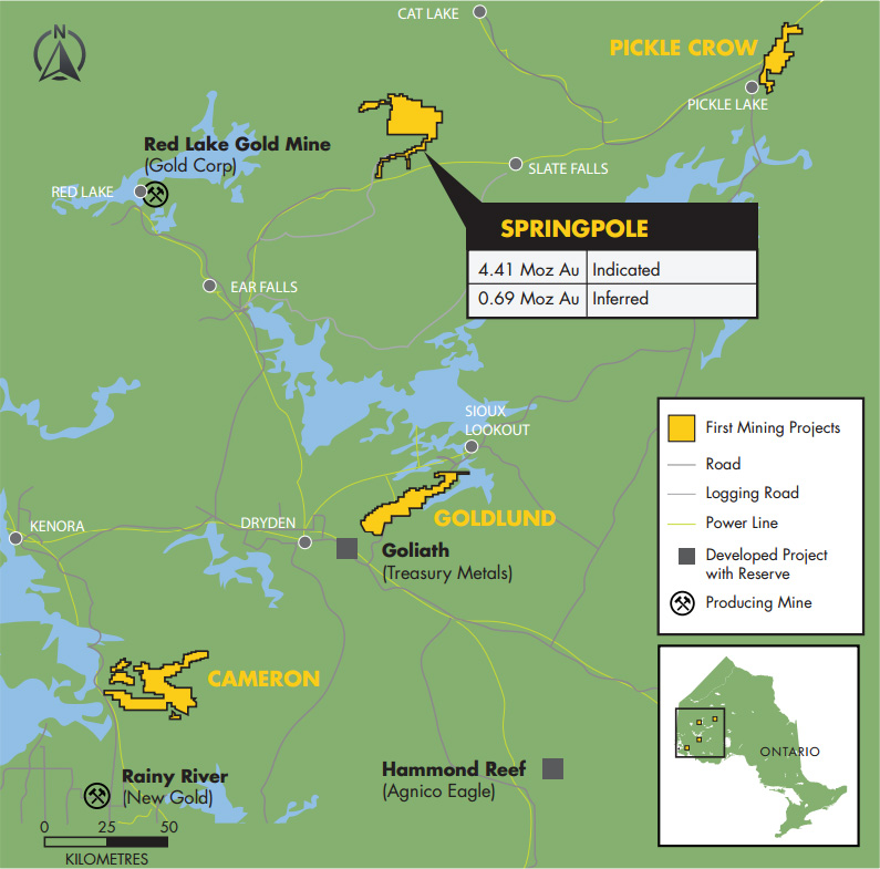 Location map of First Mining Finance's projects in northwestern Ontario. Credit: First Mining Finance.