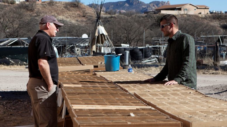 Arizona Mining chief operating officer Don Taylor (left) and geologist Jack Mueller with drill core at Arizona Mining's Hermosa zinc-lead-silver project in Arizona. Credit: Arizona Mining.