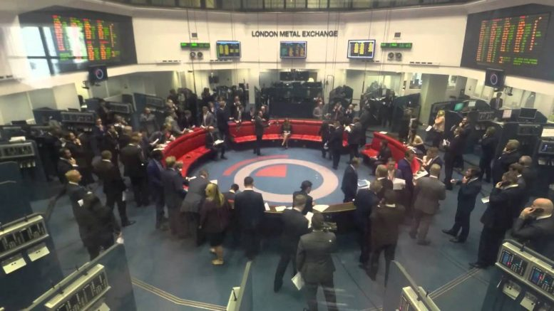 The trading ring at the London Metal Exchange in London. Credit: YouTube.