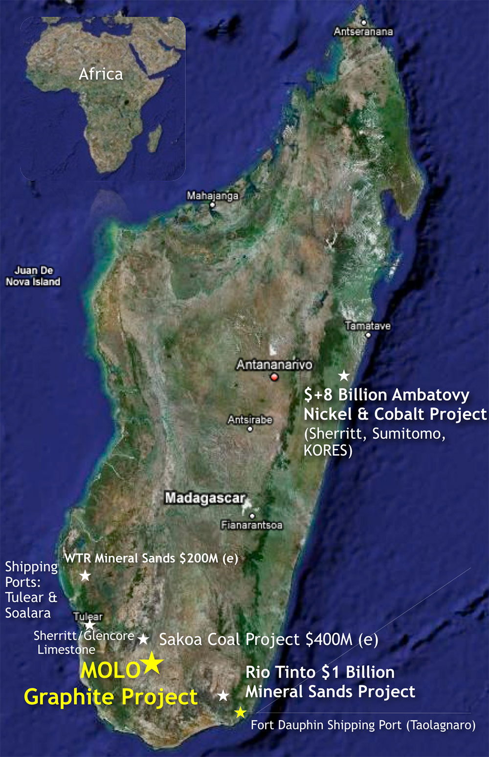 Location map of NextSource Materials' Molo graphite project in Madagascar. Credit: NextSource Materials.