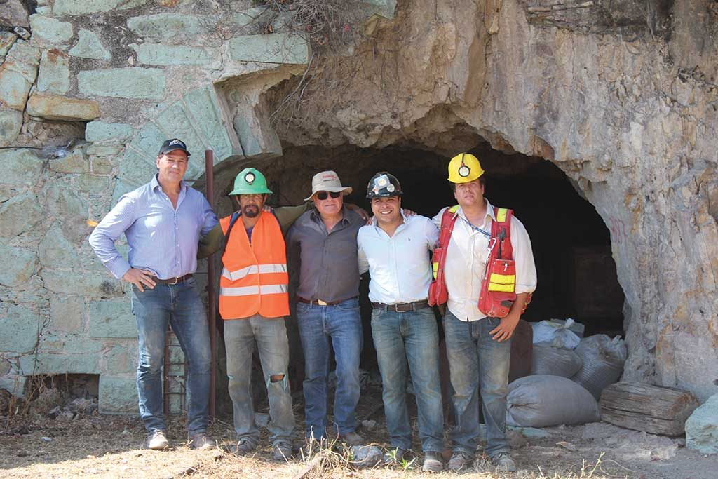 Vangold Mining president and CEO Cameron King (far left) with colleagues at the historic El Pinguico gold mine in Mexico. Credit: Vangold Mining.