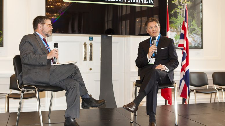 At the Canadian Mining Symposium hosted by The Northern Miner at Canada House in London, U.K., in May 2017 (from left): session moderator Bill Whitelaw, executive vice-president of Northern Miner parent company Glacier Media and Kelvin Dushnisky, president of Barrick Gold. Photo by Martina Lang.