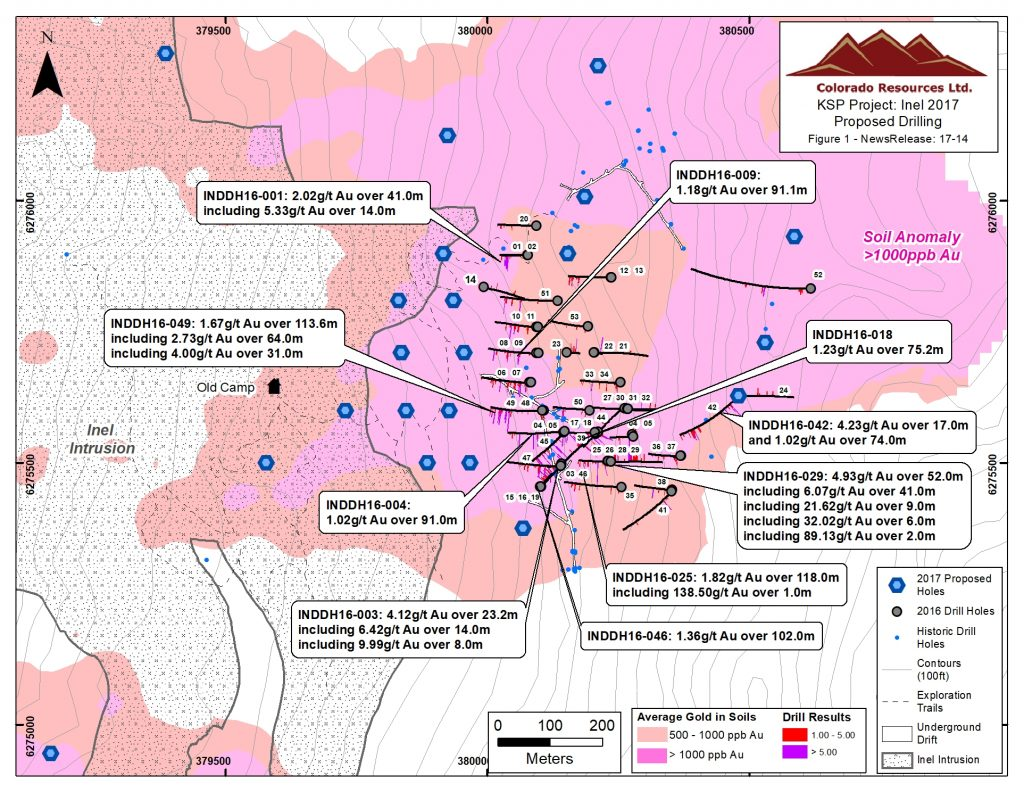 Assay highlights from 2016 drilling at Colorado Resources' Inel project, with collar locations of this year's proposed drill holes. Credit: Colorado Resources.