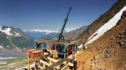 Drillers on a platform at Colorado Resources' KSP gold-copper project in northwestern British Columbia. Credit: Colorado Resources.