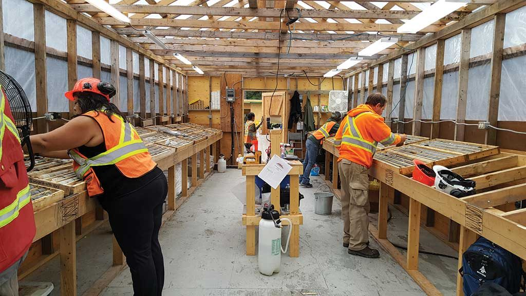 Workers in the core shack at Colorado Resources' KSP gold-copper property in northwest British Columbia. Credit: Colorado Resources.