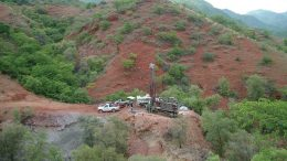 A drill site Minera Alamos' Los Verdes copper-molybdenum project in 2015, 200 km southeast of Hermosillo in Sonora state, Mexico. Credit: Minera Alamos.
