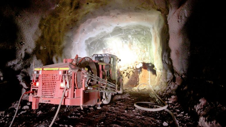 Drilling of face in service decline at the Kamoa deposit, part of Ivanhoe Mines' Kamoa-Kakula copper project in the Democratic Republic of the Congo. Credit: Ivanhoe Mines.