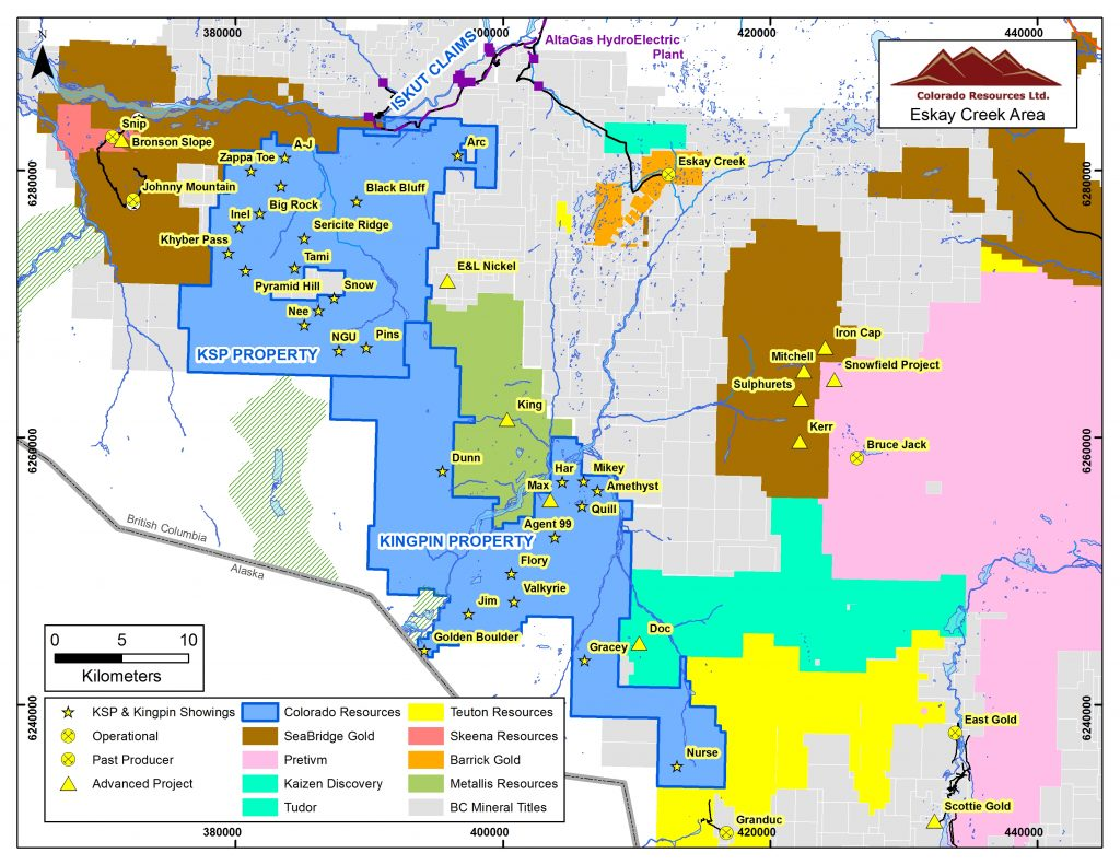 Location map of Colorado Resources' exploration properties in northwestern B.C.'s Golden Triangle district. Credit: Colorado Resources.
