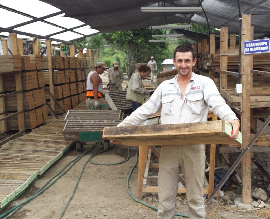 Benn Whistler, SolGold's technical services manager, holds a core tray at SolGold's Cascabel copper-gold project in Ecuador. Credit: SolGold.