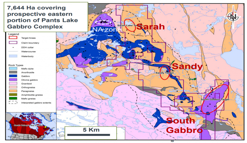 Fjordland and Commander's South Voisey's Bay nickel-copper-cobalt project hosts three main targets, Sarah and South Gabbro, over it's 76.4 sq. km extent. Credit: Commander Resources.