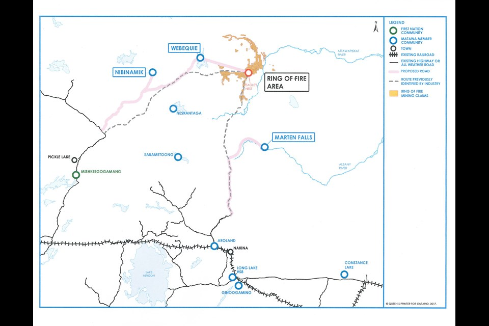 Map of proposed all-season roads (in pink) into Ontario's Ring of Fire mineral district. Credit: Government of Ontario.