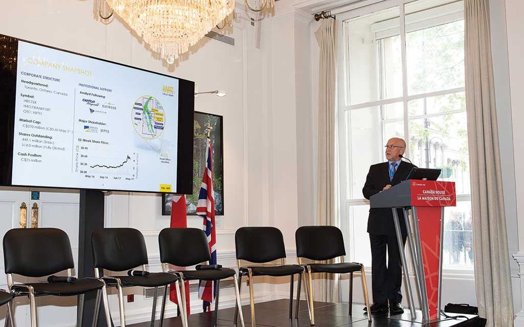 Harte Gold president and CEO Stephen Roman addresses attendees in May 2017 at The Northern Miner's Canadian Mining Symposium in London, United Kingdom. Photo by Martina Lang.