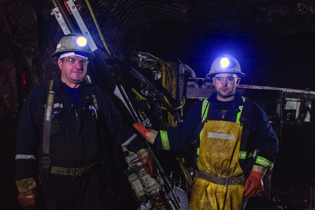 Miners in Metanor Resources' Bachelor gold mine, 225 km northeast of Val-d'Or, Quebec. Credit: Metanor Resources.