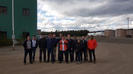 AuRico management and tour attendees outside offices at the Kemess site. Photo by Matthew Keevil.