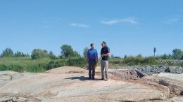 Probe Metals president & CEO David Palmer(left) and Industrial Alliance Securities analyst George Topping at the Val-d'Or East gold property in northern Quebec. Credit: Probe Metals.