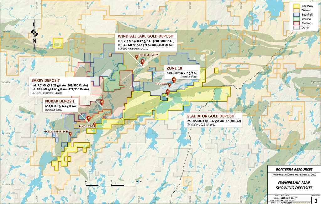 An ownership map outlining Bonterra Resources' Gladiator gold property and surrounding area in Quebec. Credit: Bonterra Resources.