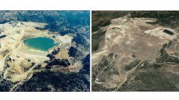 Kinross Gold's closure and rehabilitation efforts at it DeLamar gold mine site in southern Idaho, comparing the 1990s (left) with 2012. Credit: Kinross Gold.