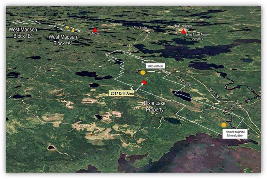 Great Bear Resources' Dixie Lake gold property is strategically located next to Goldcorp's Red Lake gold mine and Pure Gold Mining's Madsen gold project. Credit: Great Bear Resources.
