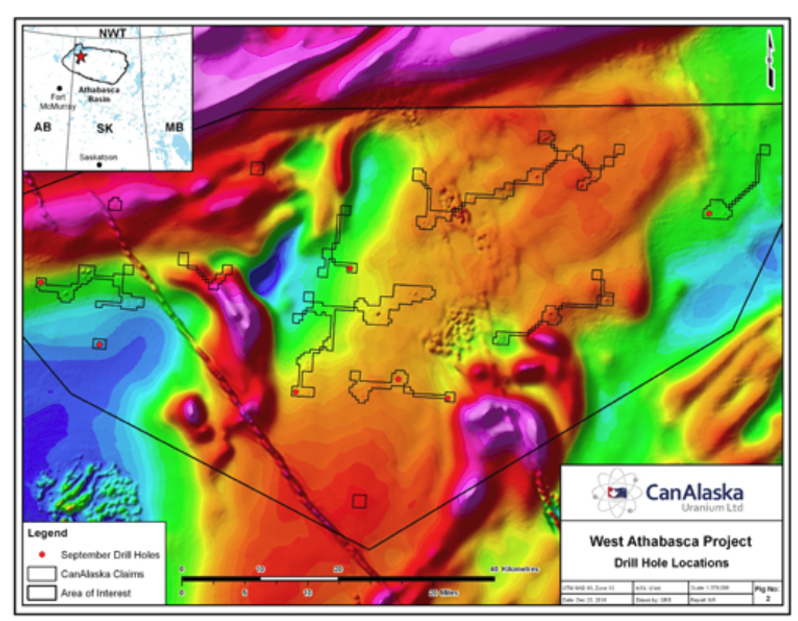 In 2016, CanAlaska Uranium identified over 75 circular-shaped magnetic anomalies - interpreted to potentially be diamond-bearing kimberlites - in a 800-metre spaced airborne magnetic survey. A high resolution, 50-metre spaced survey later outlined that the 75 targets - each ranging up to 800 metres in diameter - were clusters of much smaller anomalies between 50 and 100 metres in diameter. Subsequent drilling by DeBeers suggests that some of the anomalies could be explained by a magnetic organic layer found at or near surface. Credit: CanAlaska Uranium.