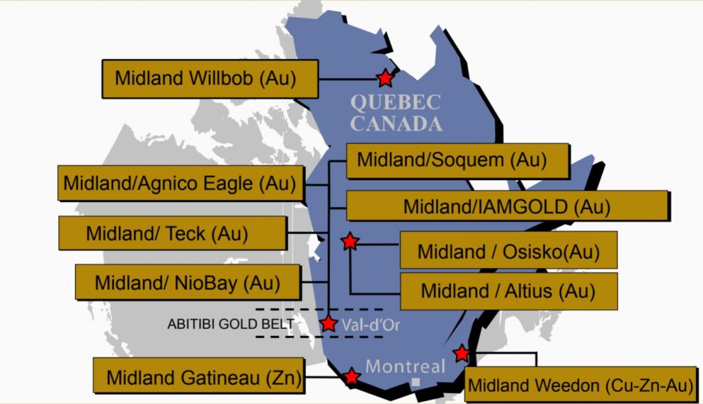 Location map of Midland Exploration's active projects in Quebec, with partner name and commodity of interest. Credit: Midland Exploration.