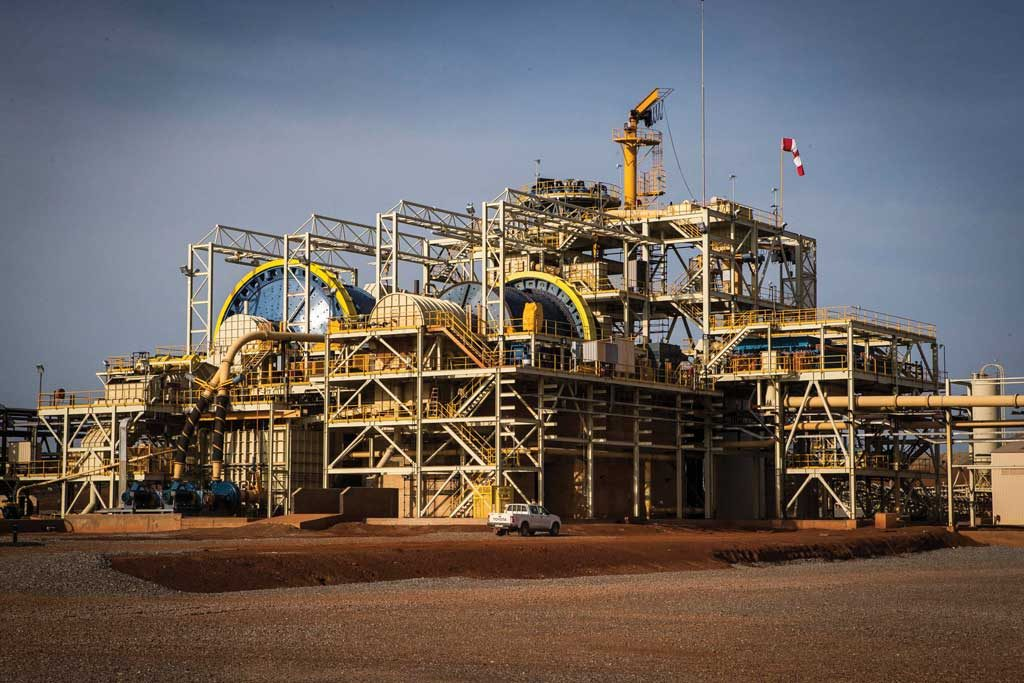 Ore-processing facilities at B2Gold's Fekola gold mine, under construction in southwest Mali. Credit: B2Gold.