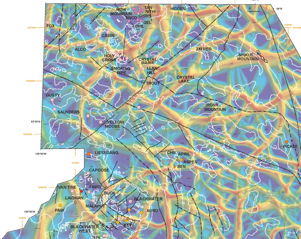 Fathom Geophysics designed a method of grid based, semi-automated structure detection and applied it to the isostatic residual gravity data grid over TREK's project area. MDRU has correlated several north-trending structures with known mineral occurrences in the region. The white, dotted lines in image outline geological units. Black lines are structures mapped at surface. Showing names are as labelled. Credit: MDRU.