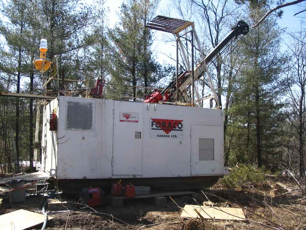 A drill rig at New Age Metals' River Valley project in Ontario. Credit: New Age Metals.