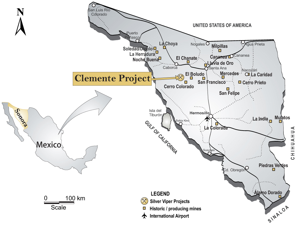 Location map of Silver Viper Minerals' Clemente silver-gold property in Mexico. Credit: Silver Viper Minerals.